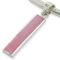 Vedhæng med pink perlemor 32mm ukæde (108)