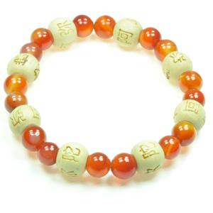 Lykkearmbånd med Karneol og træ Karma perler