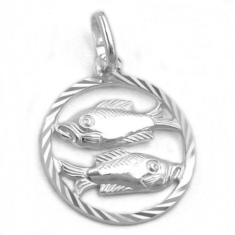 Vedhæng Fiskene Stjernetegn - 20mm - u/kæde