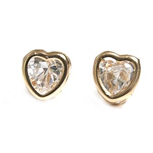 Guld Ørestikker - Hjerte i klar Zirkonia - pr par