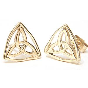 Guld Ørestikker med Triquetra - Treenighedssymbolet - Ø9mm - pr sæt