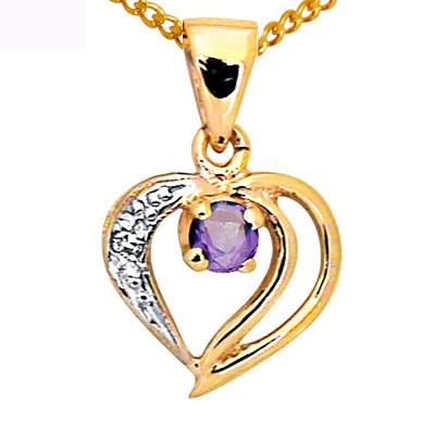 Guld vedhæng med Ametyst og Diamant mforgyldt kæde (3045)