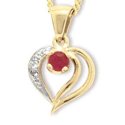 Guld vedhæng med Rubin og Diamant - m/forgyldt kæde