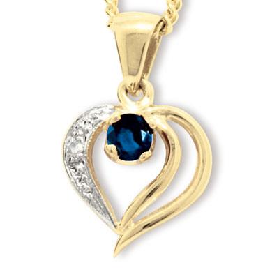 Guld vedhæng med Safir og Diamant - m/forgyldt kæde