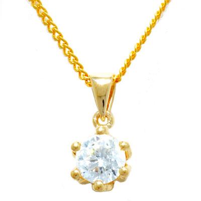 Guld vedhæng med Zirkonia - m/forgyldt kæde