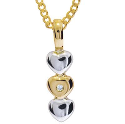 Guld vedhæng med Hjerter og Diamant - m/forgyldt kæde