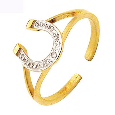 Tåring Guld med Hestesko og Diamant