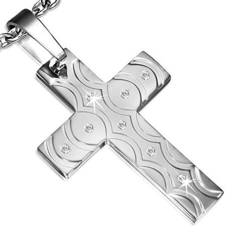 Kors Vedhæng i stål 62mm ukæde (3269)