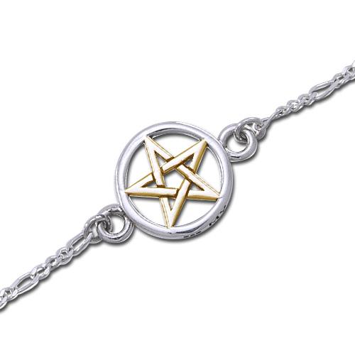 Ankelkæde med forgyldt Pentagram 17cm (3596)