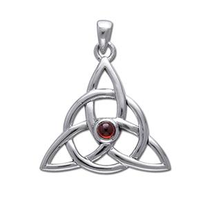 Vedhæng med Triquetra Treenighedssymbolet og Rød Granat 35mm ukæde (946)