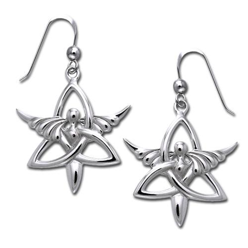 Øreringe Engel og Triquetra Treenighedssymbolet Pr par (3471)