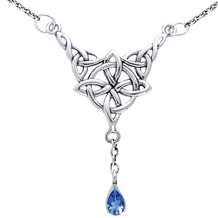 Halskæde med Keltisk 4 punkts knude og Safir (3520)
