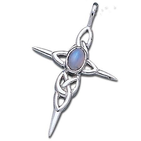 Keltisk kors med Månesten - u/kæde