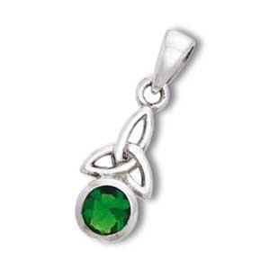 Vedhæng med Triquetra Treenighedssymbolet og Smaragd 24mm ukæde (2458)