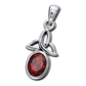 Vedhæng med Triquetra Treenighedssymbolet og Rød Granat 24mm ukæde (3379)
