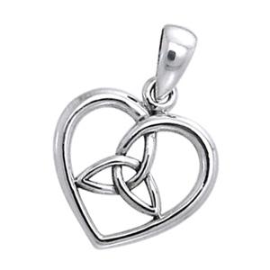 Vedhæng Hjerte med Triquetra Treenighedssymbolet 22mm ukæde (3205)