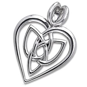 Vedhæng Hjerte med Triquetra Treenighedssymbolet 29mm ukæde (2602)