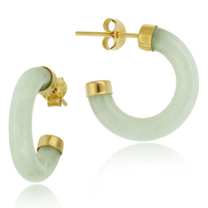 Øreringe Hoops med Grøn Jade - Ø18mm - pr sæt