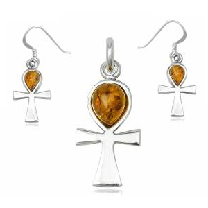 Ankh kors smykkesæt med Rav - u/kæde