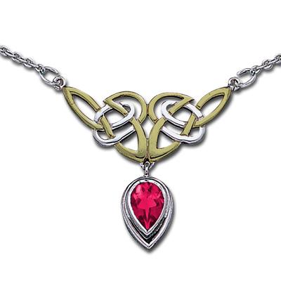Halskæde med Keltiske knuder og Rubin (3489)