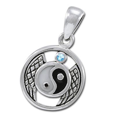 Yin Yang vedhæng med Blå Topas ukæde (3484)