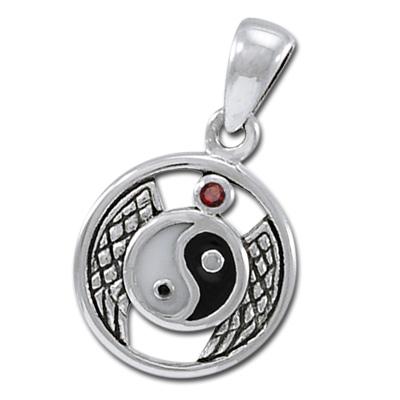 Yin Yang vedhæng med Rød Granat ukæde (3485)
