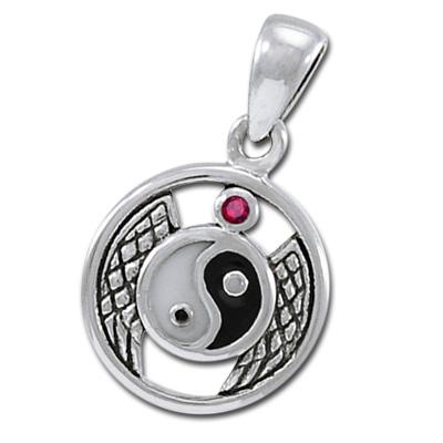 Yin Yang vedhæng med Rubin ukæde (3488)