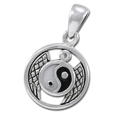 Yin Yang vedhæng med Bjergkrystal ukæde (3486)