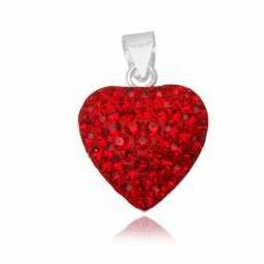 Hjerte vedhæng med Swarovski krystaller - 22mm - u/kæde