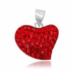 Hjerte vedhæng med Swarovski krystaller - 20mm - u/kæde