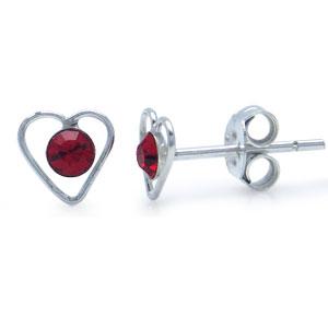 Hjerte ørestikker med krystal - Ø6mm - pr sæt