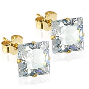 Guld ørestikker med klar Zirkonia - Ø8mm - pr par