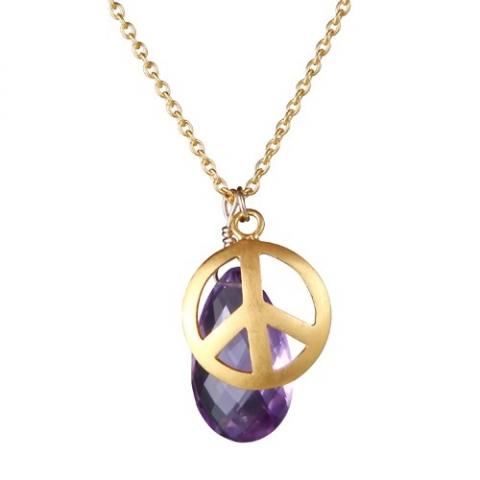Vedhæng med Ametyst og Peace tegn - m/ kæde