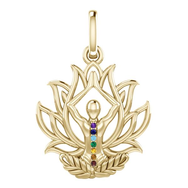 Image of   Chakra Lotus vedhæng - u/kæde - 10K guld