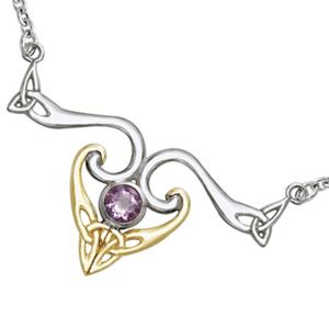 Image of   Halskæde med Triquetra - Treenighedssymbolet og Ametyst