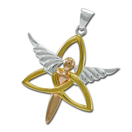 Billede af Vedhæng med Engel og Triquetra - Treenighedssymbolet - 47mm - u/kæde