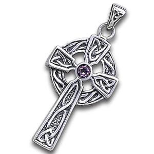 Image of   Keltisk kors med Ametyst - 47mm - u/kæde