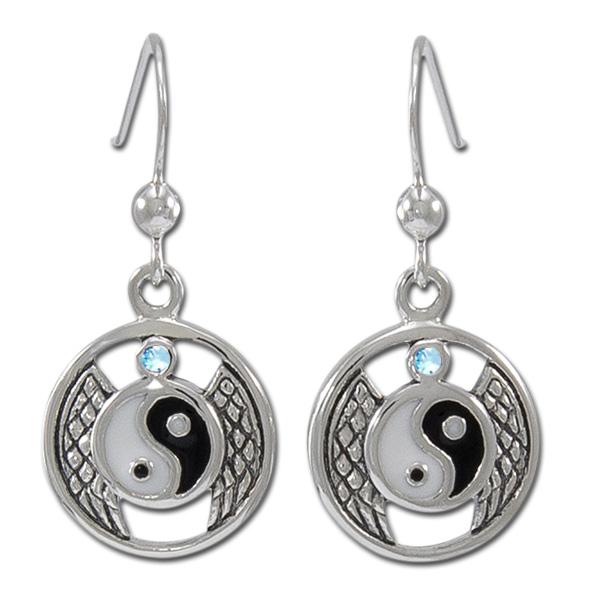 Øreringe Yin Yang med Blå Topas - pr par