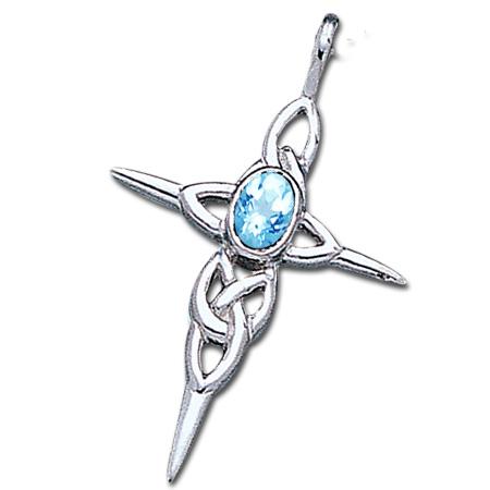 Image of   Keltisk kors med Blå Topas - u/kæde