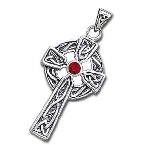 Image of   Keltisk kors med Rød Granat - 47mm - u/kæde