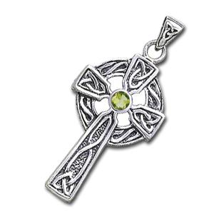 Image of   Keltisk kors med Peridot - 47mm - u/kæde