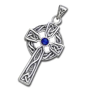 Image of   Keltisk Kors med Safir - 47mm - u/kæde