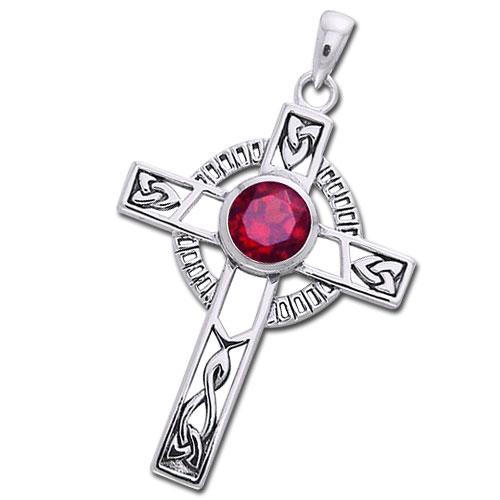Image of   Keltisk kors med Rubin - 40mm - u/kæde