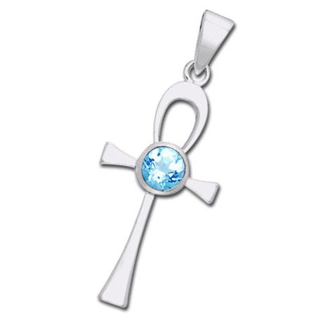 Ankh kors med Blå Topas - u/kæde