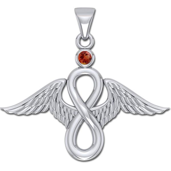 Billede af Englevinger - Uendelighedstegnet - vedhæng med Rød Granat - u/kæde