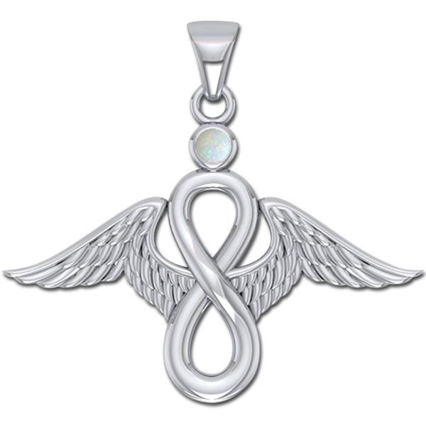 Billede af Englevinger - Uendelighedstegnet - vedhæng med Opal - u/kæde