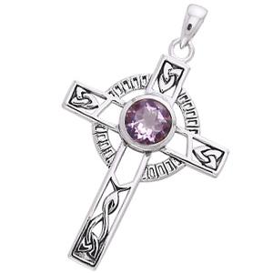 Image of   Keltisk kors med Ametyst - 40mm - u/kæde
