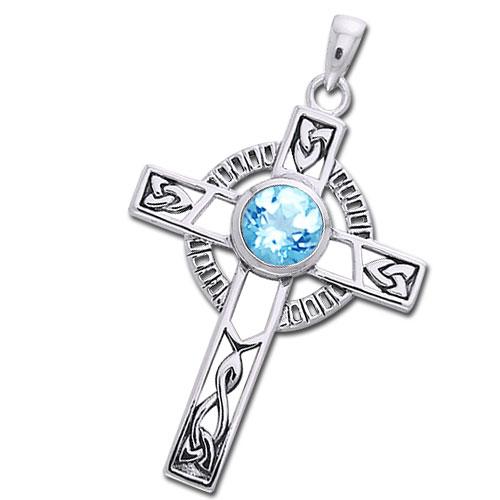 Image of   Keltisk kors med Blå Topas - 40mm - u/kæde