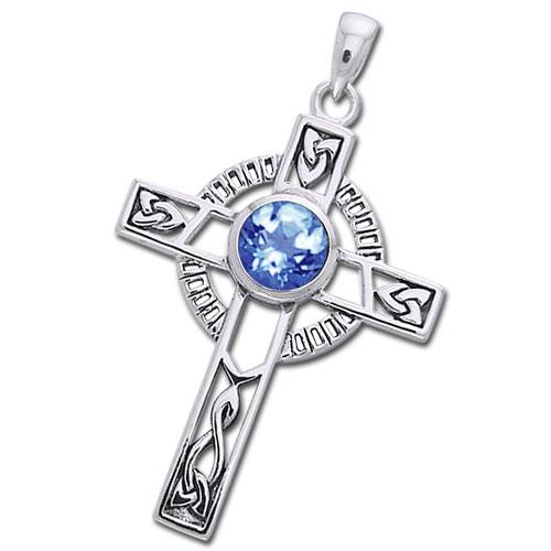 Image of   Keltisk kors med Safir - 40mm - u/kæde