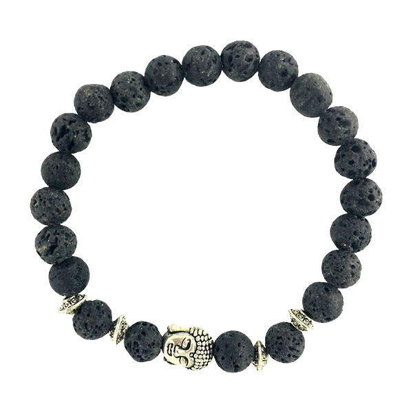 Image of Buddha armbånd - Lykkearmbånd - Lavasten